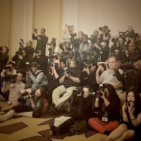 Photo pit at the Couture Fashion Week