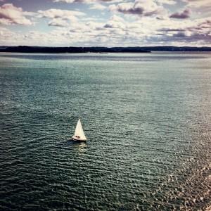 Watching small ships near Boston