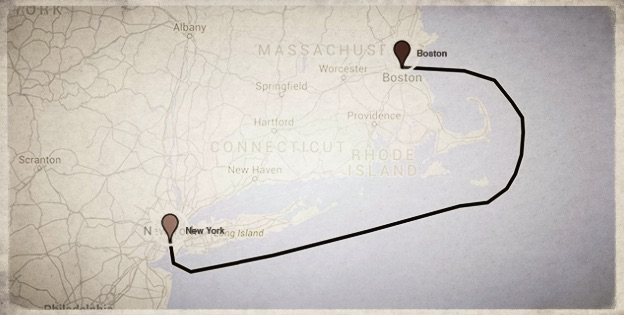 Map of the route from New York to Boston