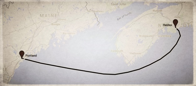Map of route from Portland to Halifax