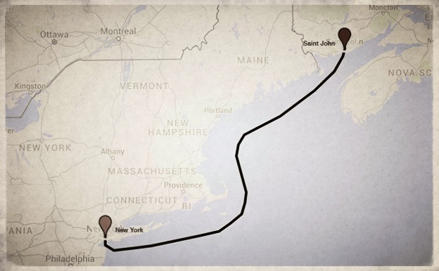 Map route from Saint John to New York