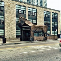 Trojan Horse hovering over Chicago Red Line Station