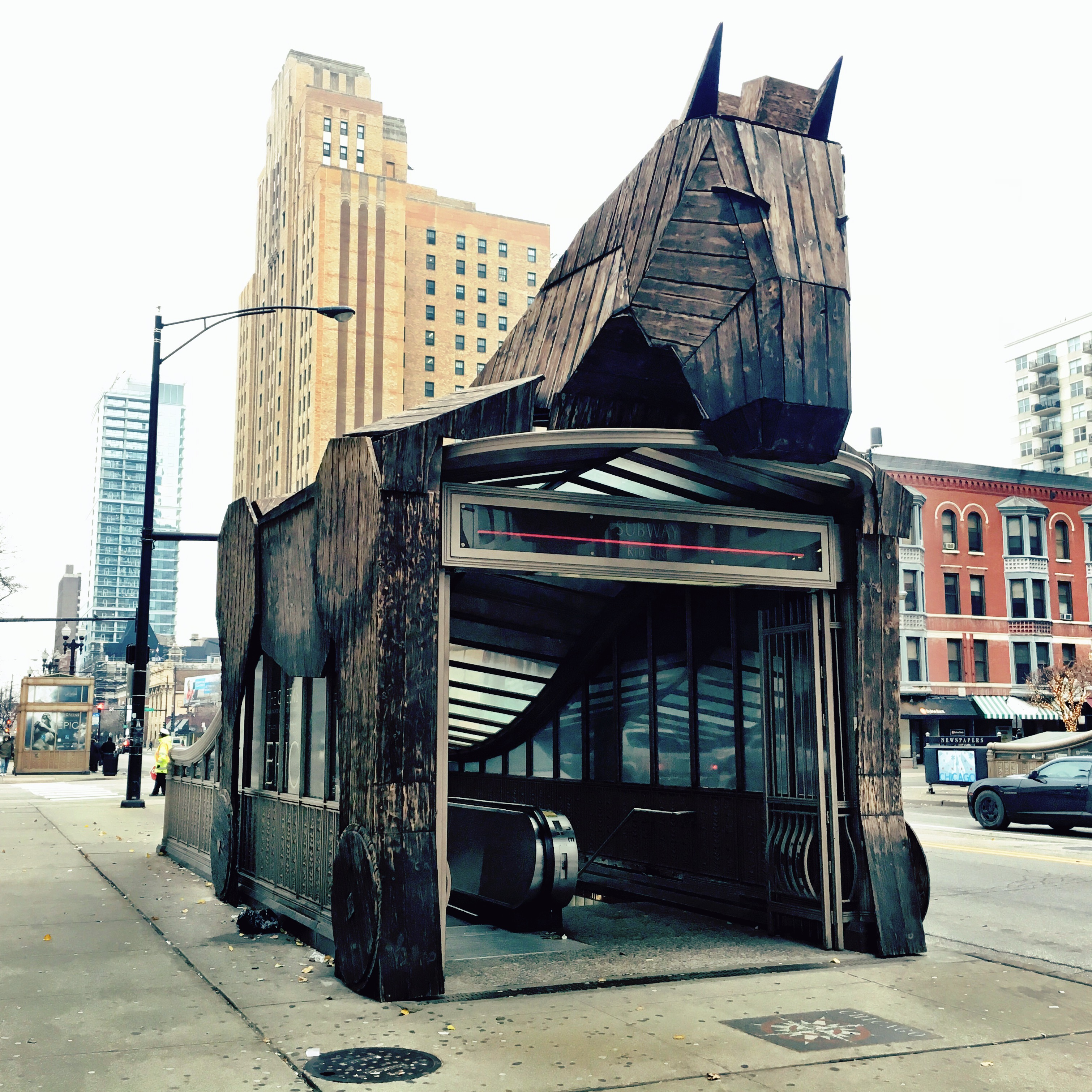 entrace to chicago red line covered by trojan horse raven mai